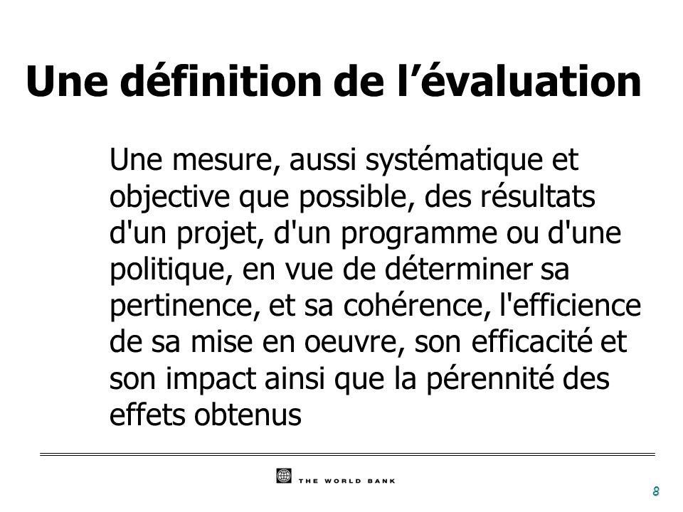 Une définition de l'évaluation