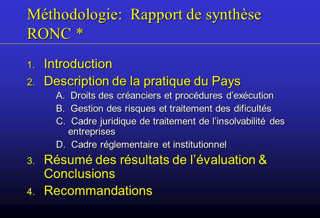 Méthodologie: Rapport de synthèse RONC *