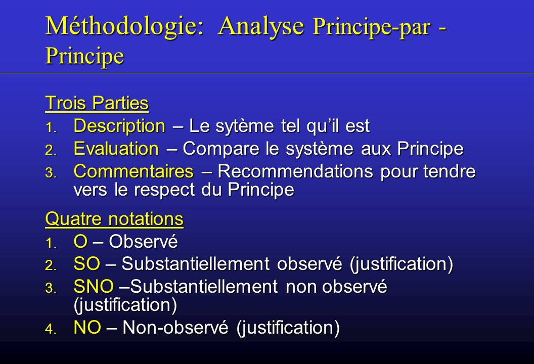 Méthodologie: Analyse Principe-par -Principe