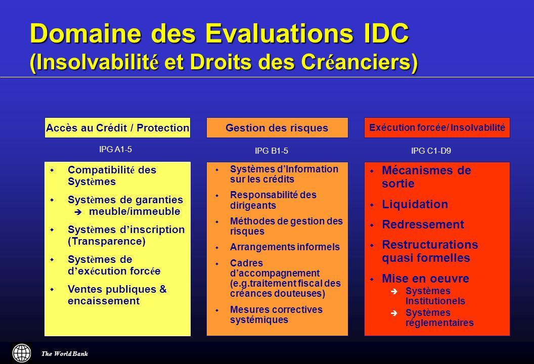 Domaine des Evaluations IDC (Insolvabilité et Droits des Créanciers)