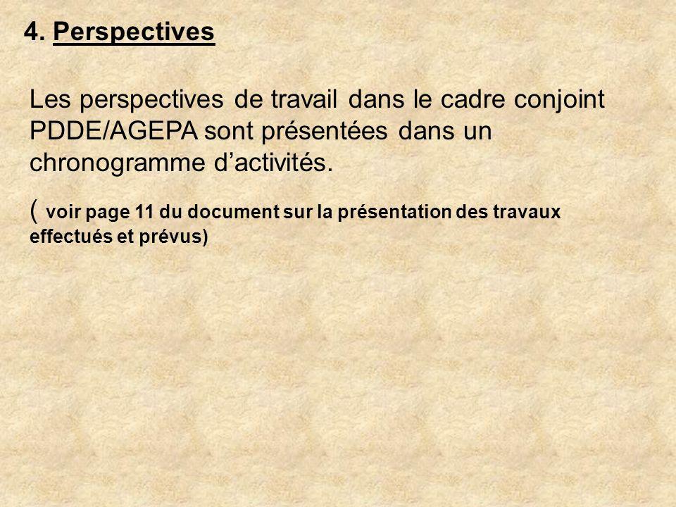 4. Perspectives Les perspectives de travail dans le cadre conjoint PDDE/AGEPA sont présentées dans un chronogramme d'activités.