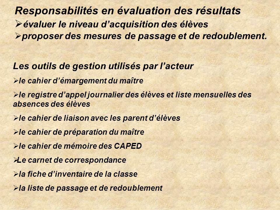 Responsabilités en évaluation des résultats
