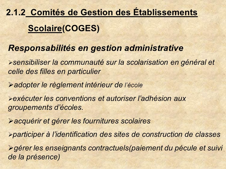 2.1.2 Comités de Gestion des Établissements Scolaire(COGES)