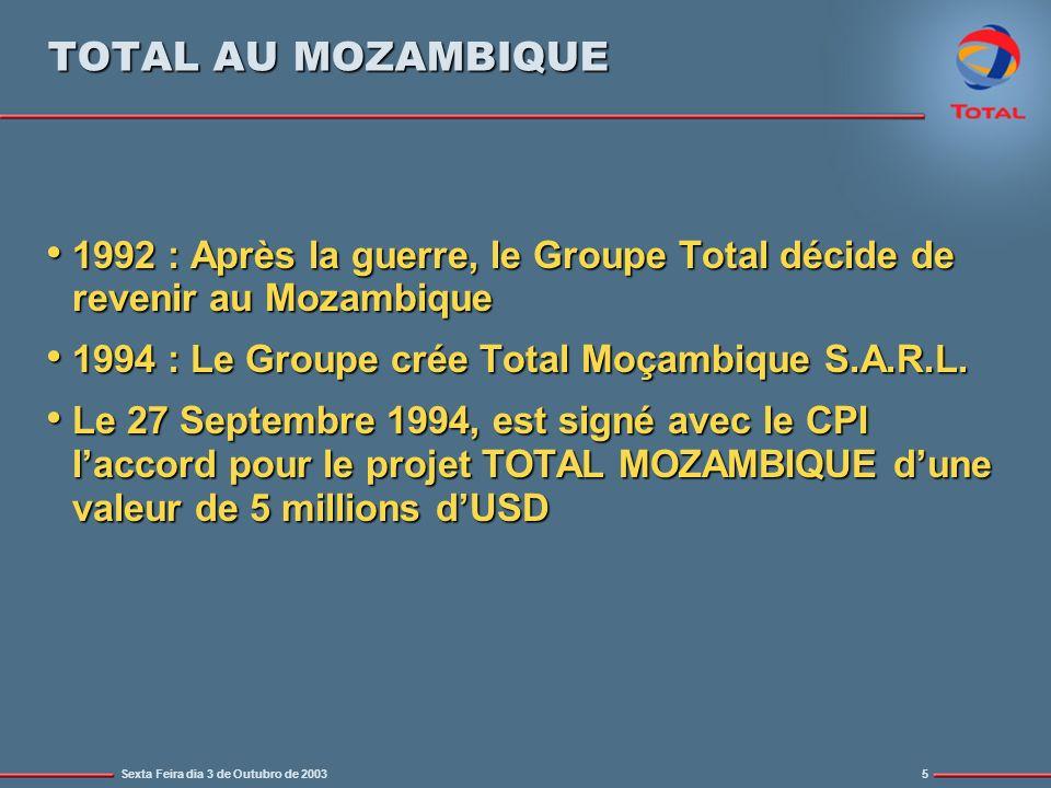 TOTAL AU MOZAMBIQUE 1992 : Après la guerre, le Groupe Total décide de revenir au Mozambique. 1994 : Le Groupe crée Total Moçambique S.A.R.L.