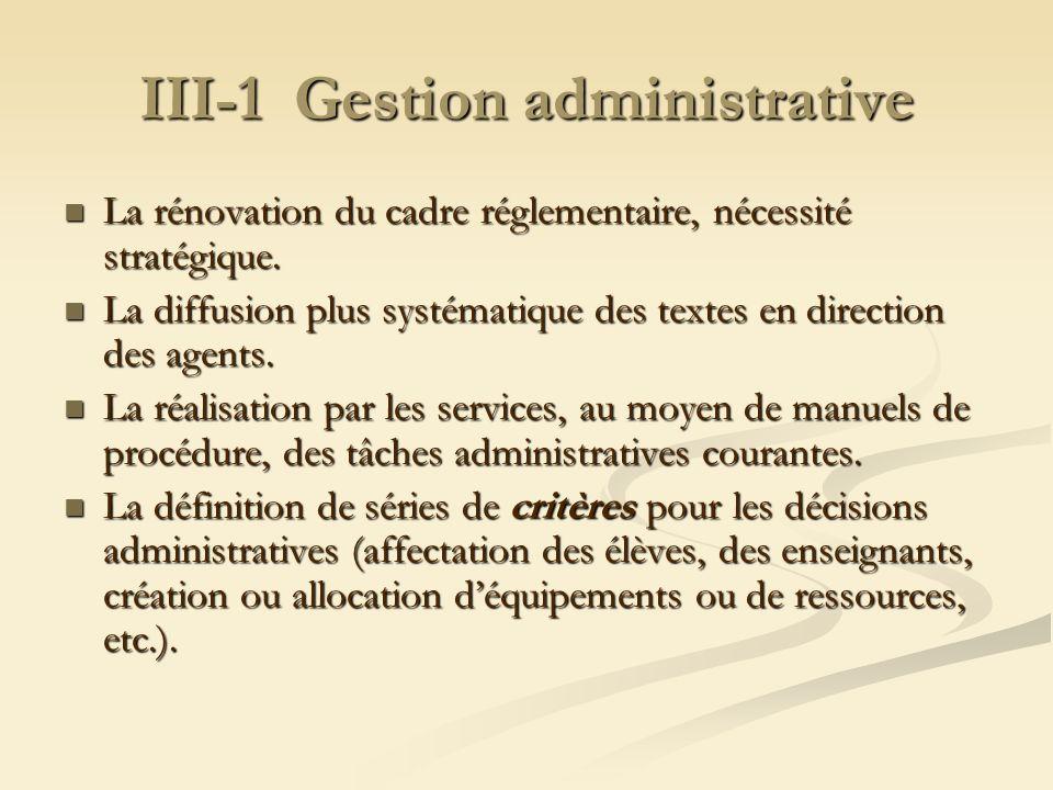 III-1 Gestion administrative