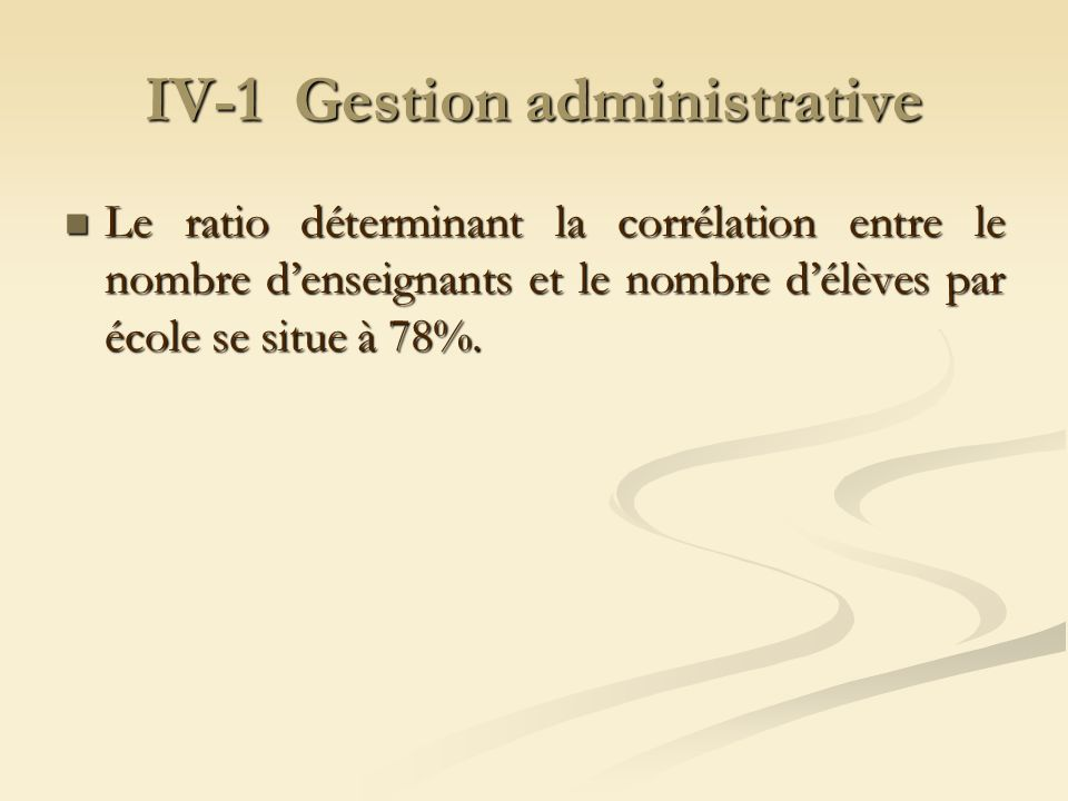 IV-1 Gestion administrative