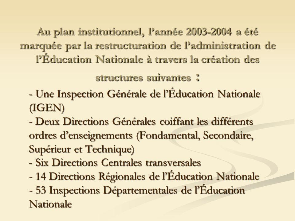 Au plan institutionnel, l'année 2003-2004 a été marquée par la restructuration de l'administration de l'Éducation Nationale à travers la création des structures suivantes :