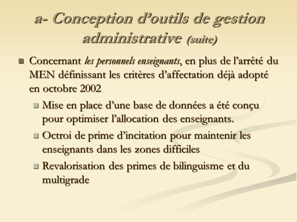 a- Conception d'outils de gestion administrative (suite)