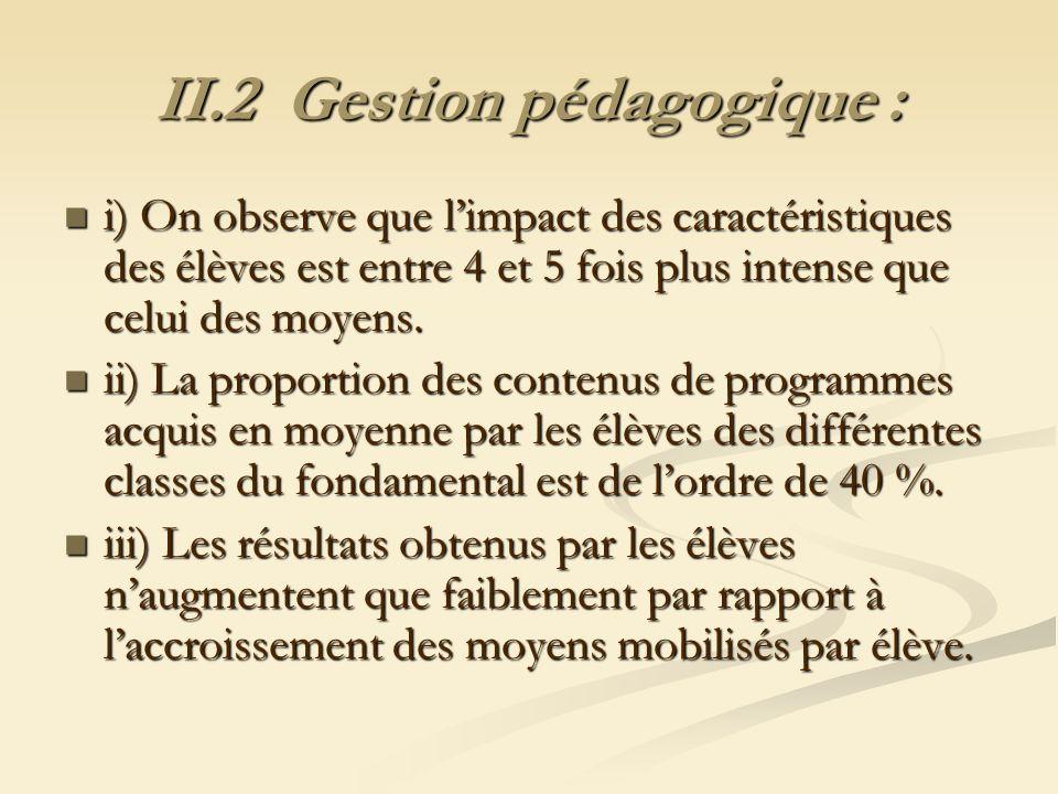 II.2 Gestion pédagogique :
