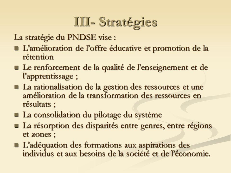 III- Stratégies La stratégie du PNDSE vise :
