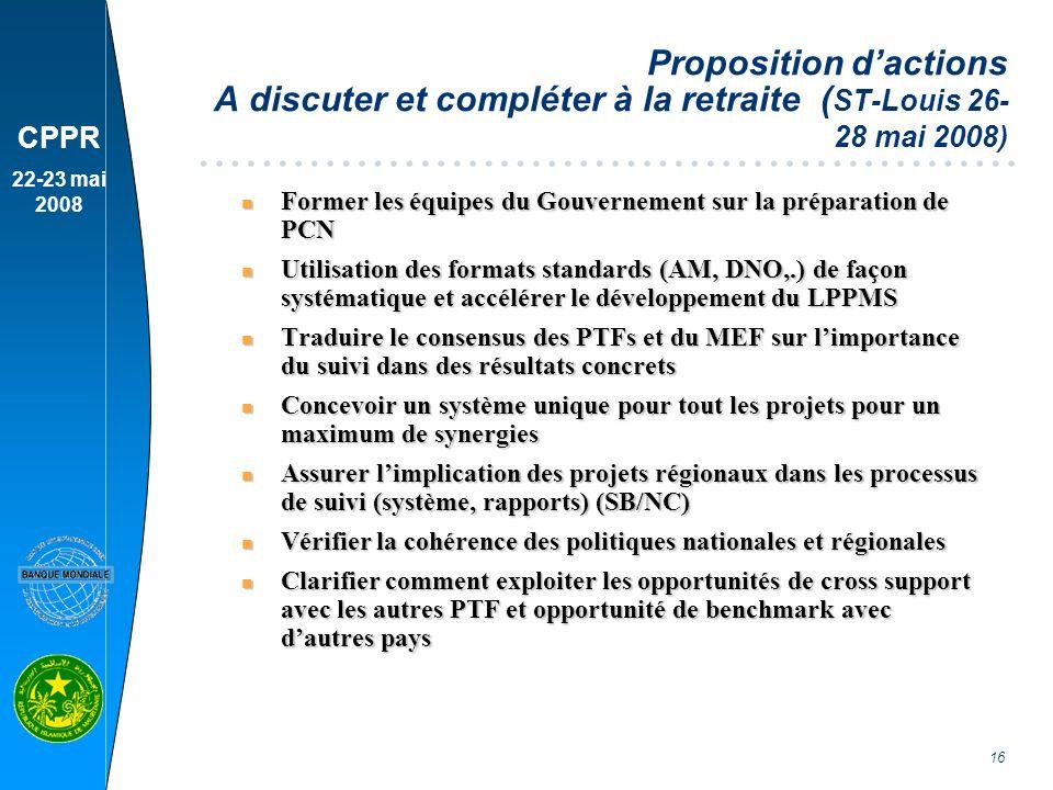 Proposition d'actions A discuter et compléter à la retraite (ST-Louis 26-28 mai 2008)