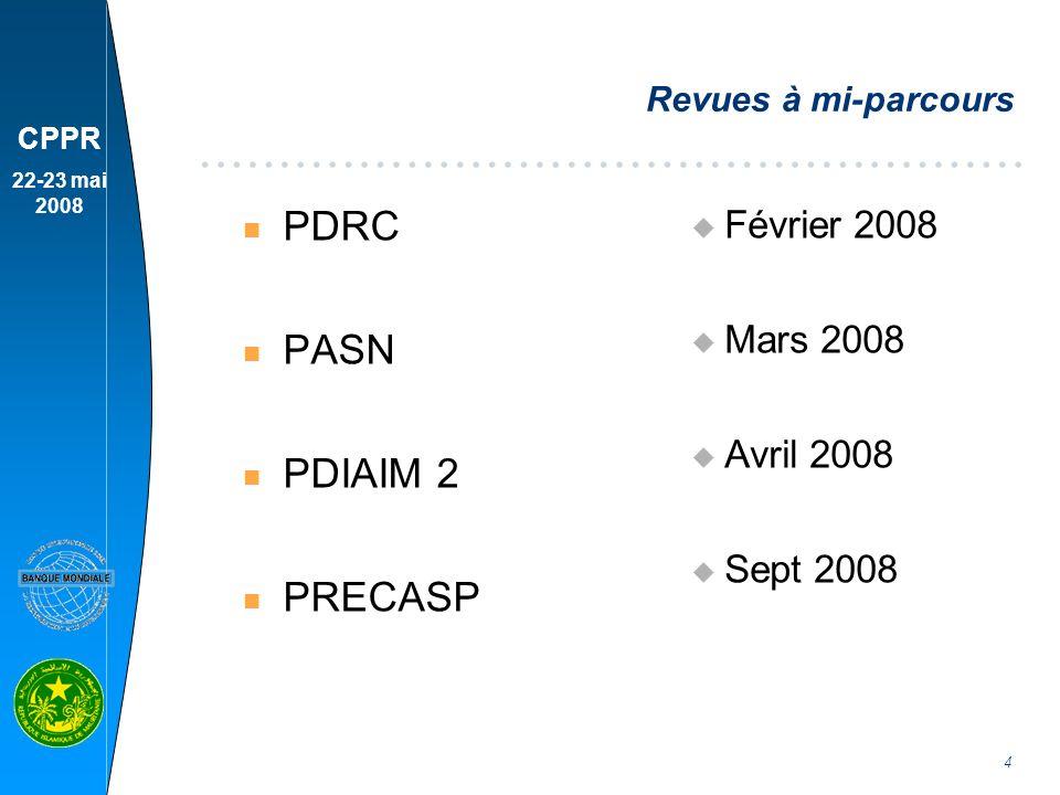 PDRC PASN PDIAIM 2 PRECASP Février 2008 Mars 2008 Avril 2008 Sept 2008