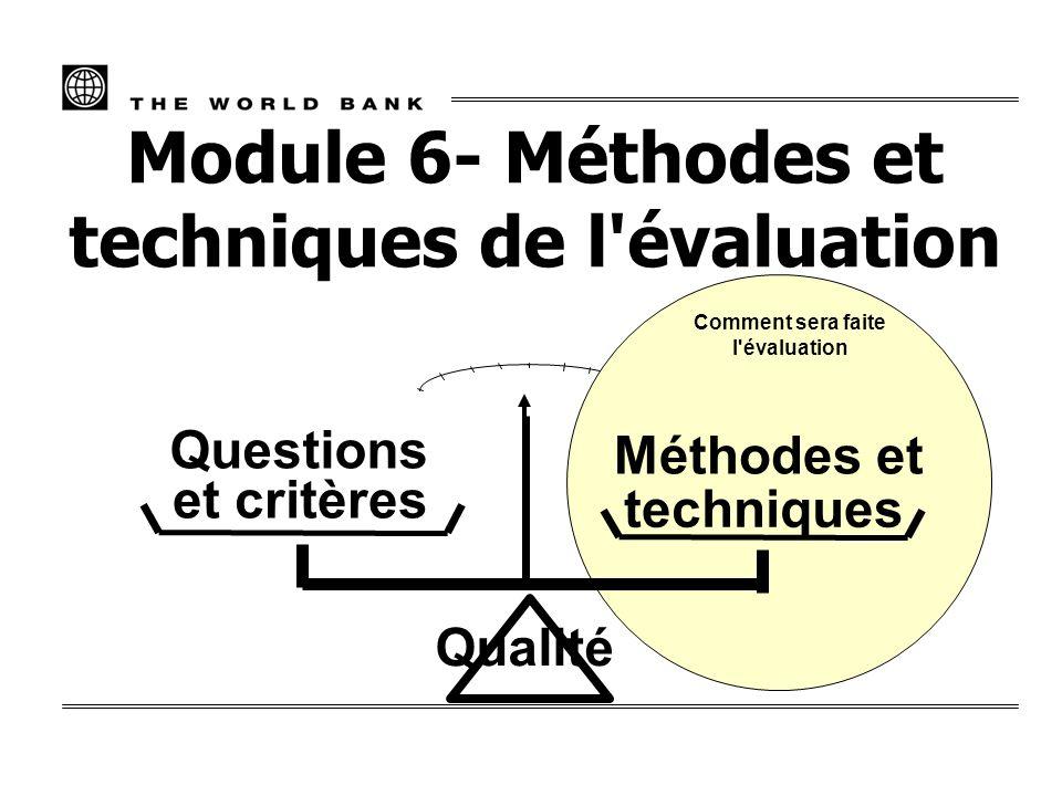 Module 6- Méthodes et techniques de l évaluation