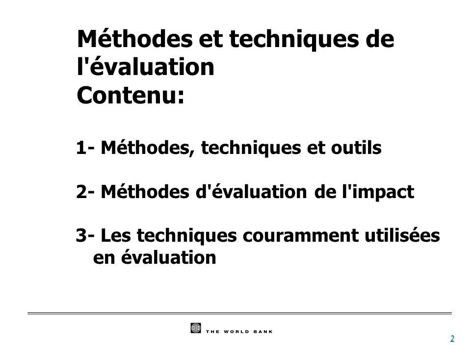 Méthodes et techniques de l évaluation Contenu: