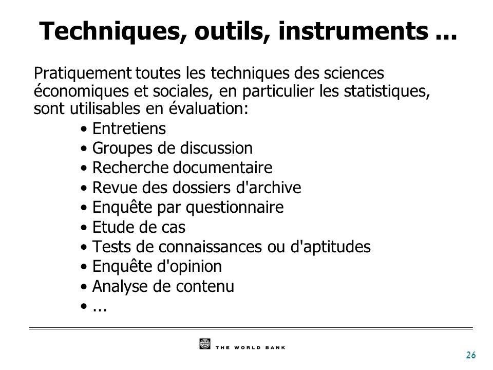 Techniques, outils, instruments ...