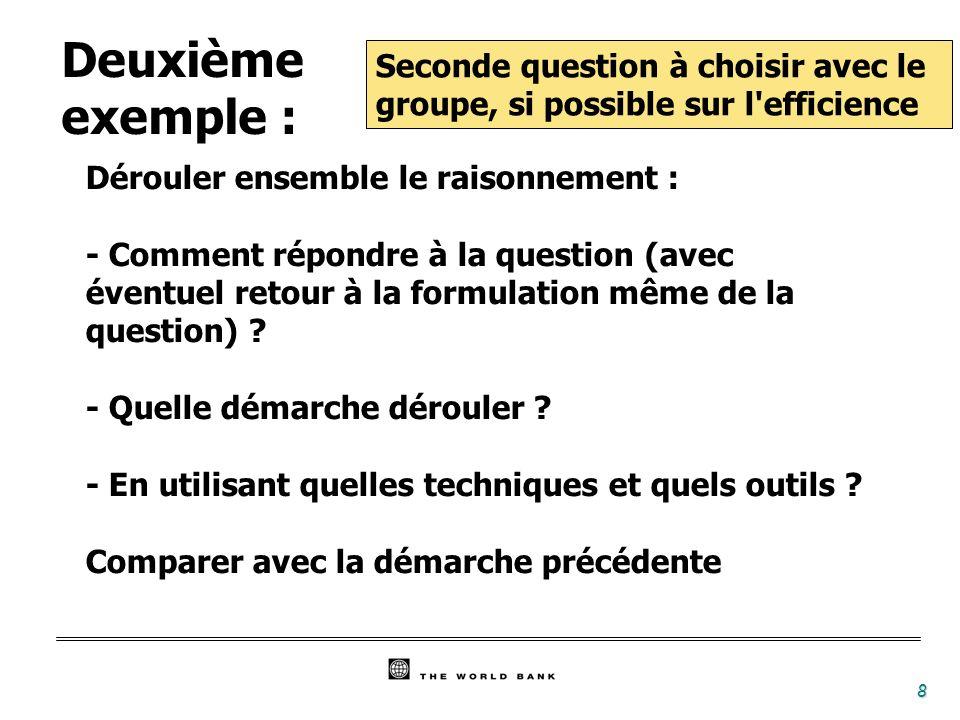 Deuxième exemple : Seconde question à choisir avec le groupe, si possible sur l efficience. Dérouler ensemble le raisonnement :