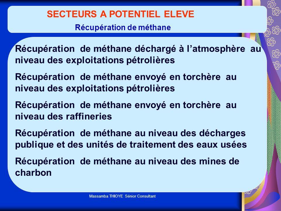 SECTEURS A POTENTIEL ELEVE Récupération de méthane