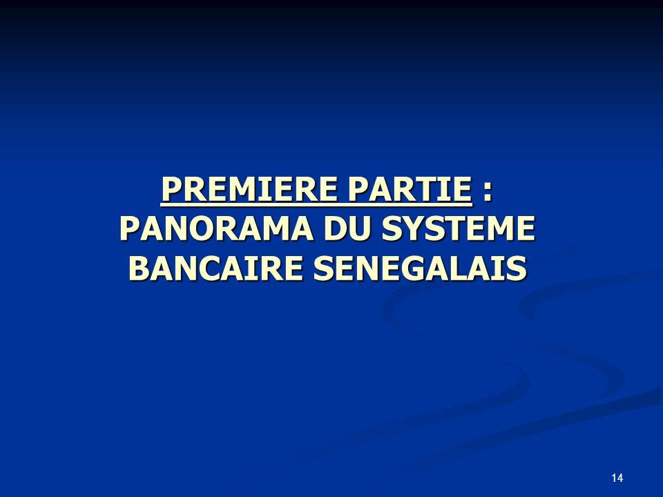 PREMIERE PARTIE : PANORAMA DU SYSTEME BANCAIRE SENEGALAIS