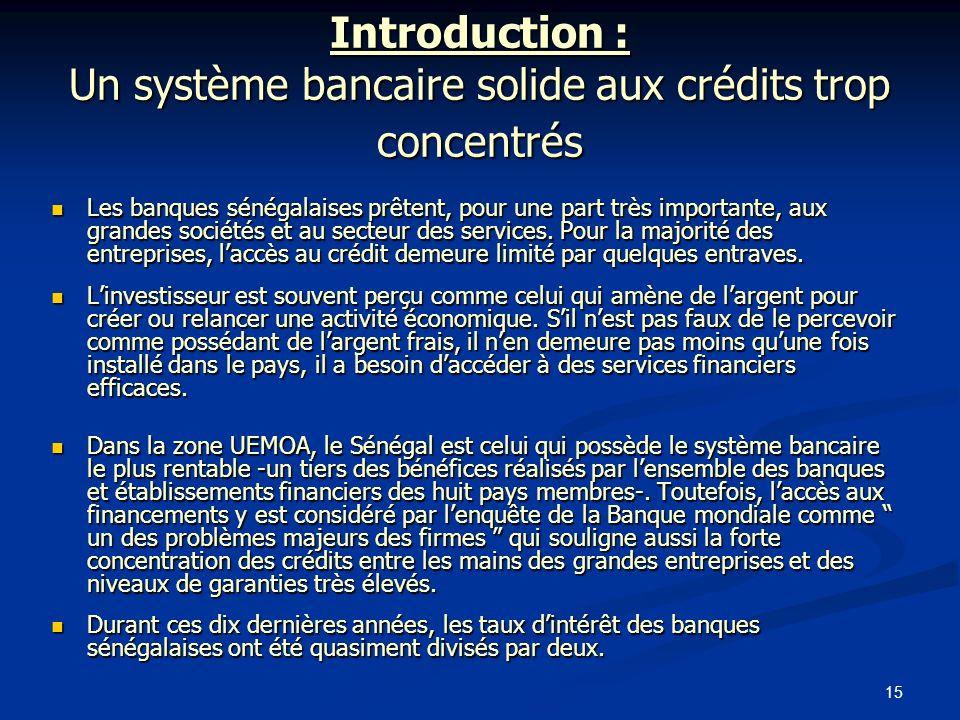Introduction : Un système bancaire solide aux crédits trop concentrés