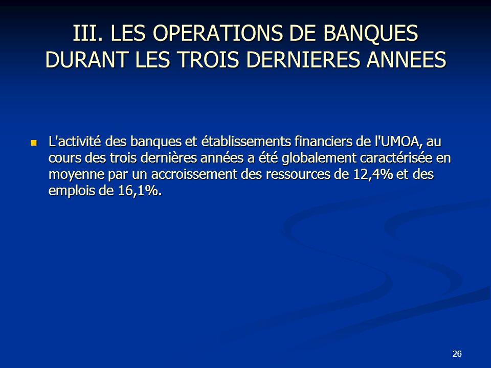 III. LES OPERATIONS DE BANQUES DURANT LES TROIS DERNIERES ANNEES