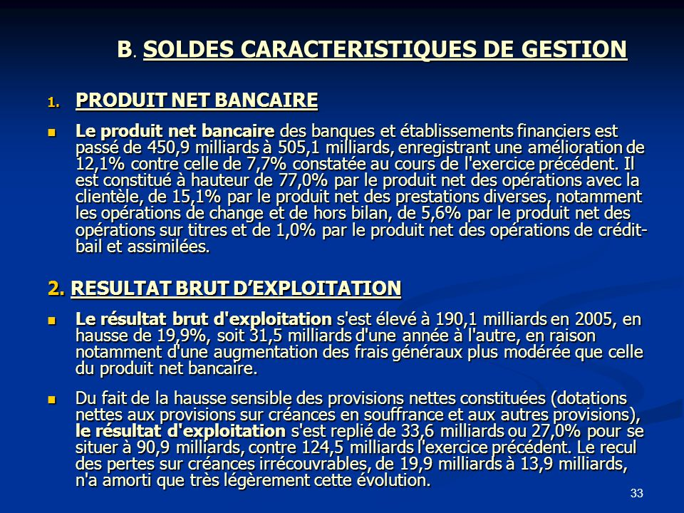 B. SOLDES CARACTERISTIQUES DE GESTION