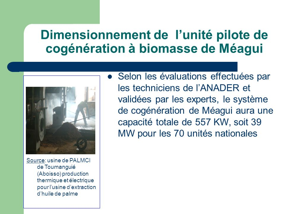 Dimensionnement de l'unité pilote de cogénération à biomasse de Méagui