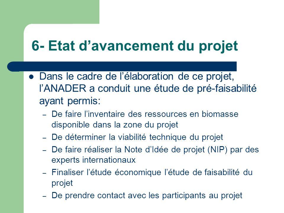 6- Etat d'avancement du projet