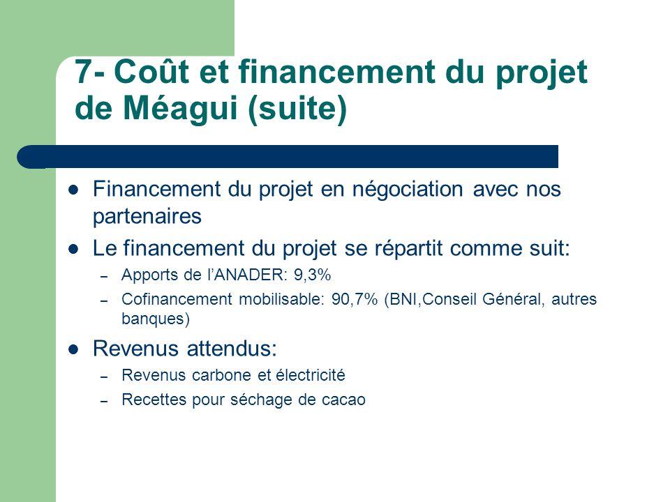 7- Coût et financement du projet de Méagui (suite)