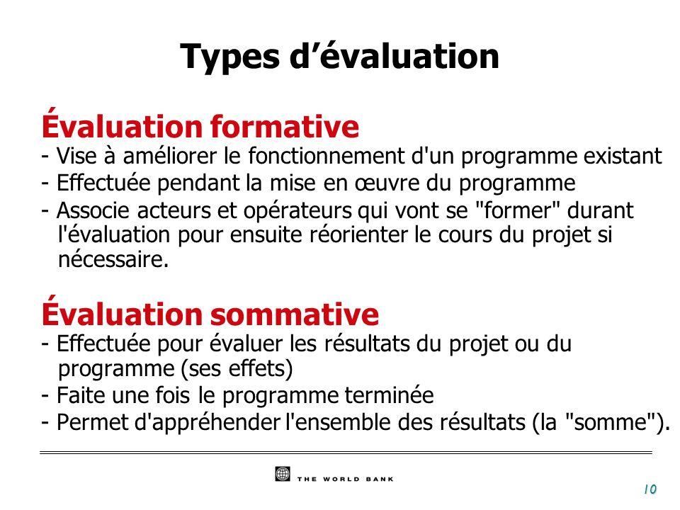 Types d'évaluation Évaluation formative Évaluation sommative