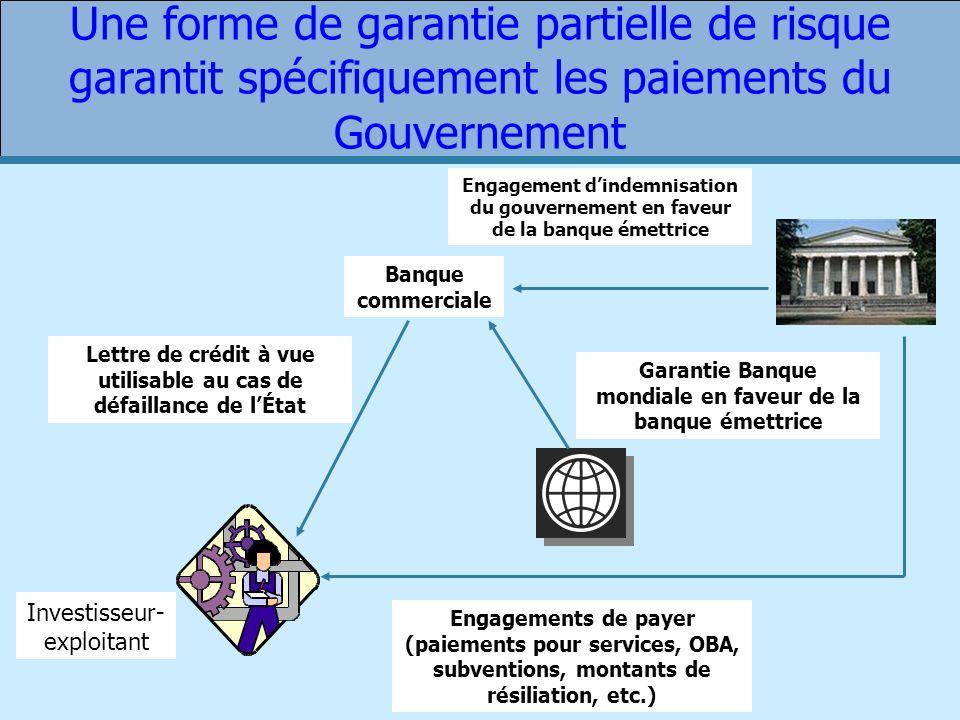 Une forme de garantie partielle de risque garantit spécifiquement les paiements du Gouvernement