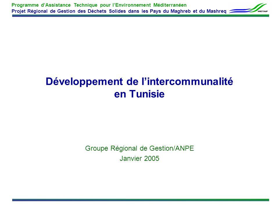 Développement de l'intercommunalité en Tunisie