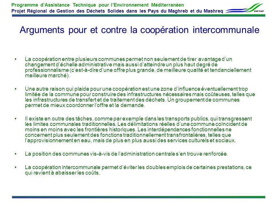 Arguments pour et contre la coopération intercommunale