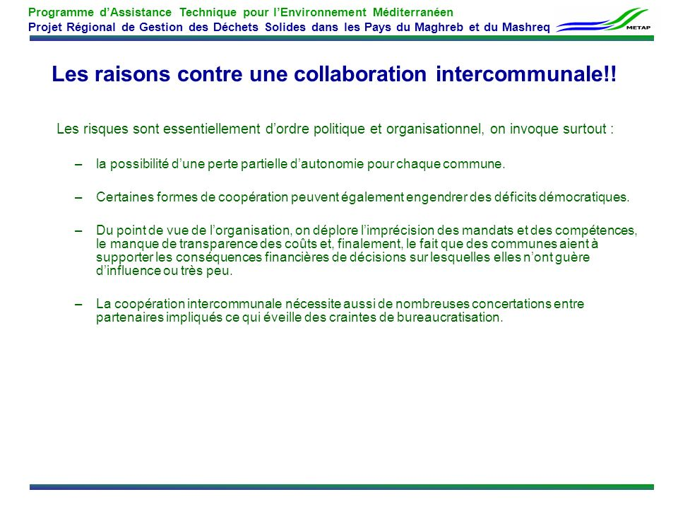 Les raisons contre une collaboration intercommunale!!