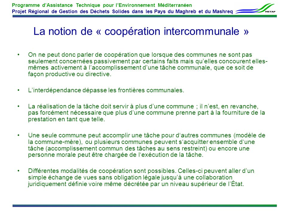 La notion de « coopération intercommunale »
