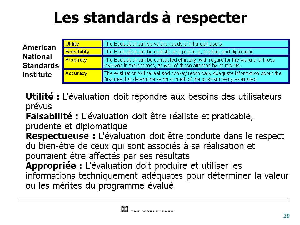 Les standards à respecter