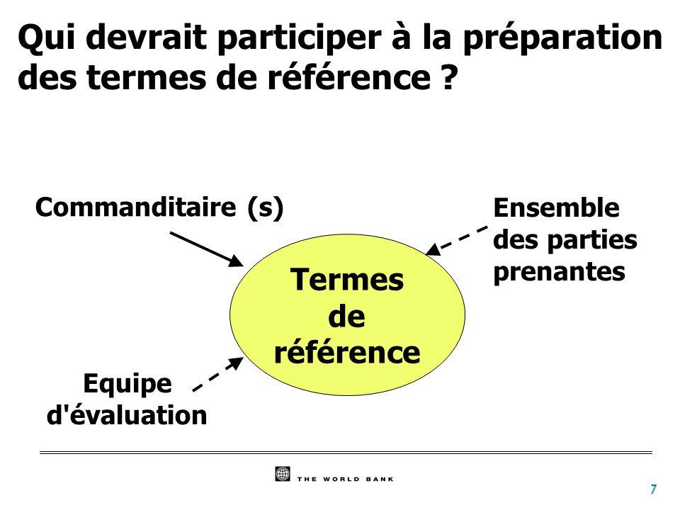 Qui devrait participer à la préparation des termes de référence