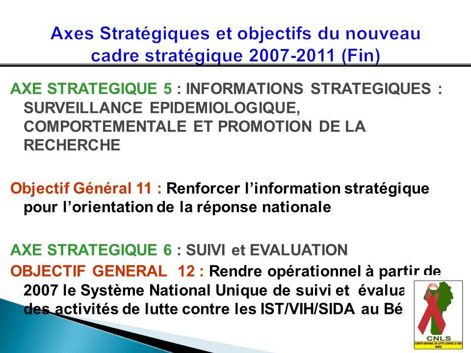 Axes Stratégiques et objectifs du nouveau cadre stratégique 2007-2011 (Fin)