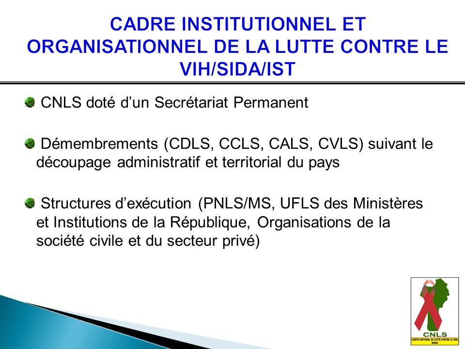 CADRE INSTITUTIONNEL ET ORGANISATIONNEL DE LA LUTTE CONTRE LE VIH/SIDA/IST