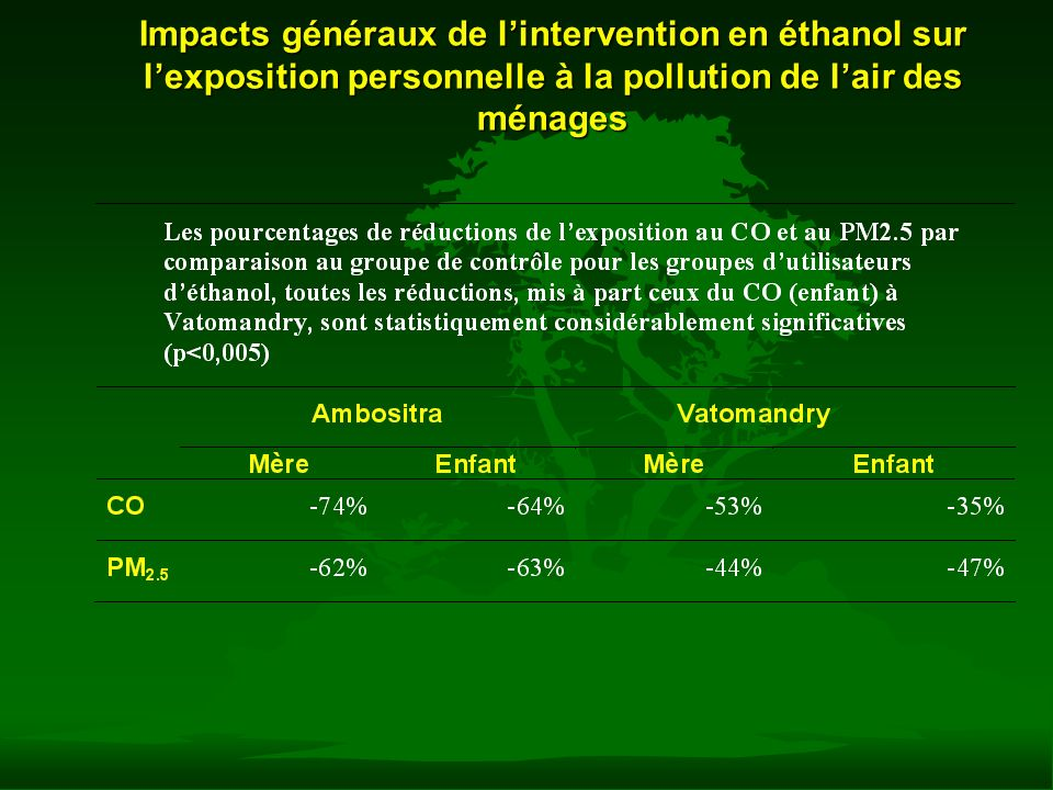 Impacts généraux de l'intervention en éthanol sur l'exposition personnelle à la pollution de l'air des ménages