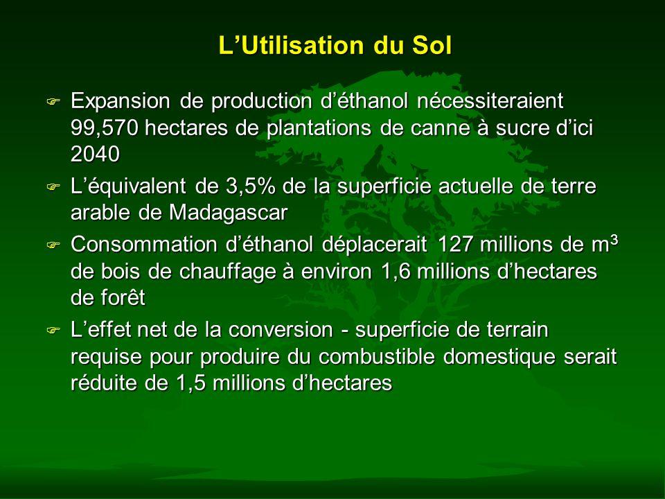 L'Utilisation du Sol Expansion de production d'éthanol nécessiteraient 99,570 hectares de plantations de canne à sucre d'ici 2040.