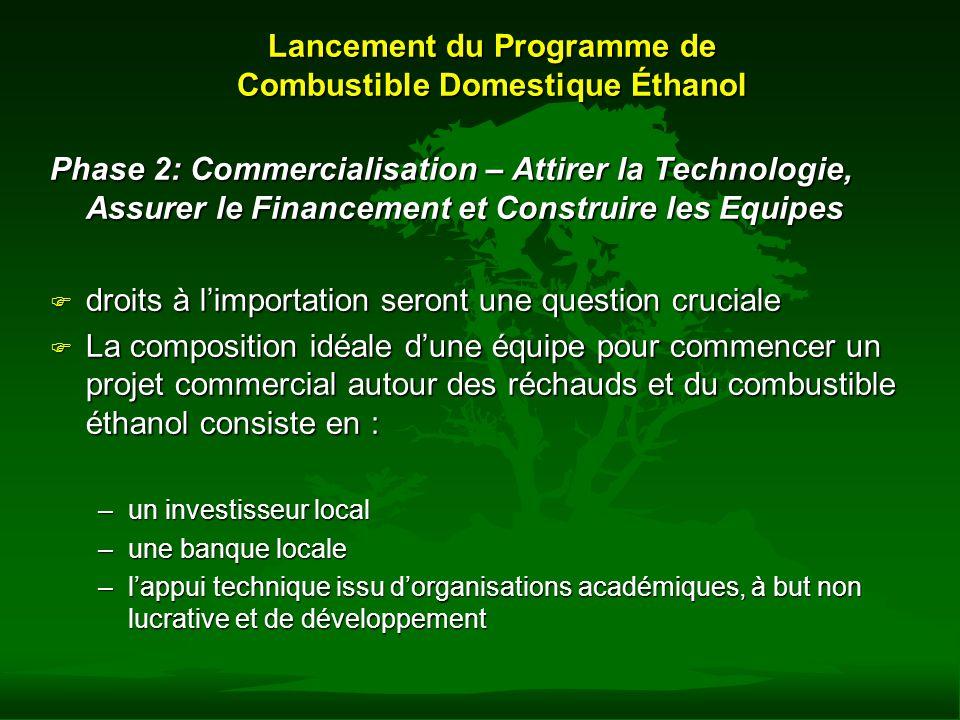 Lancement du Programme de Combustible Domestique Éthanol