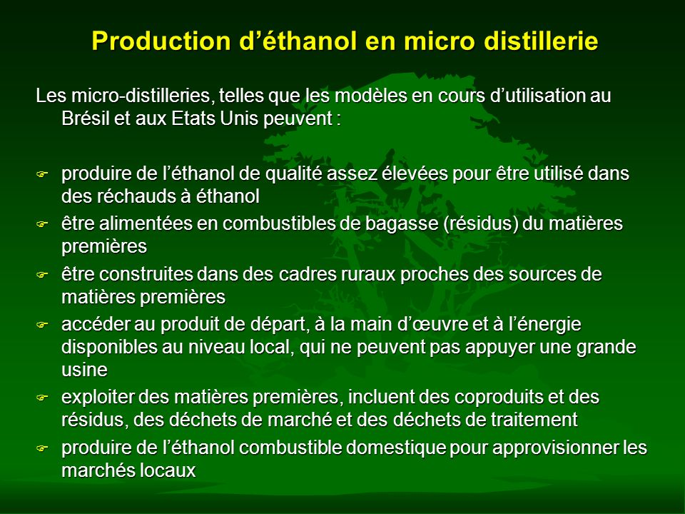 Production d'éthanol en micro distillerie