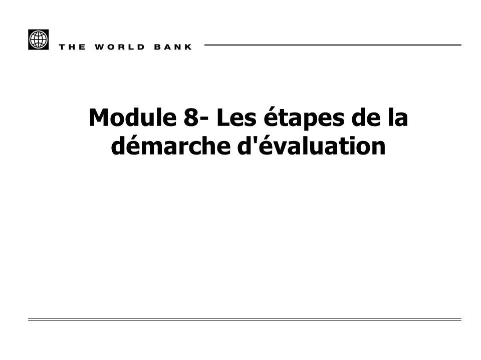 Module 8- Les étapes de la démarche d évaluation