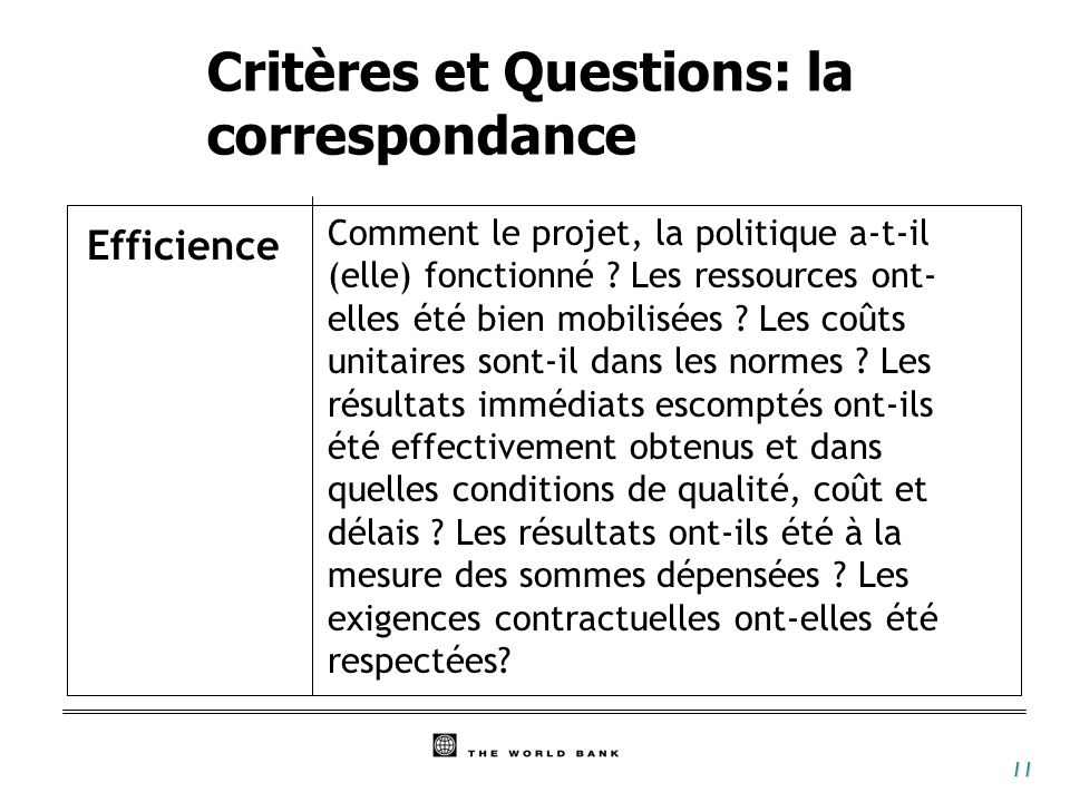 Critères et Questions: la correspondance