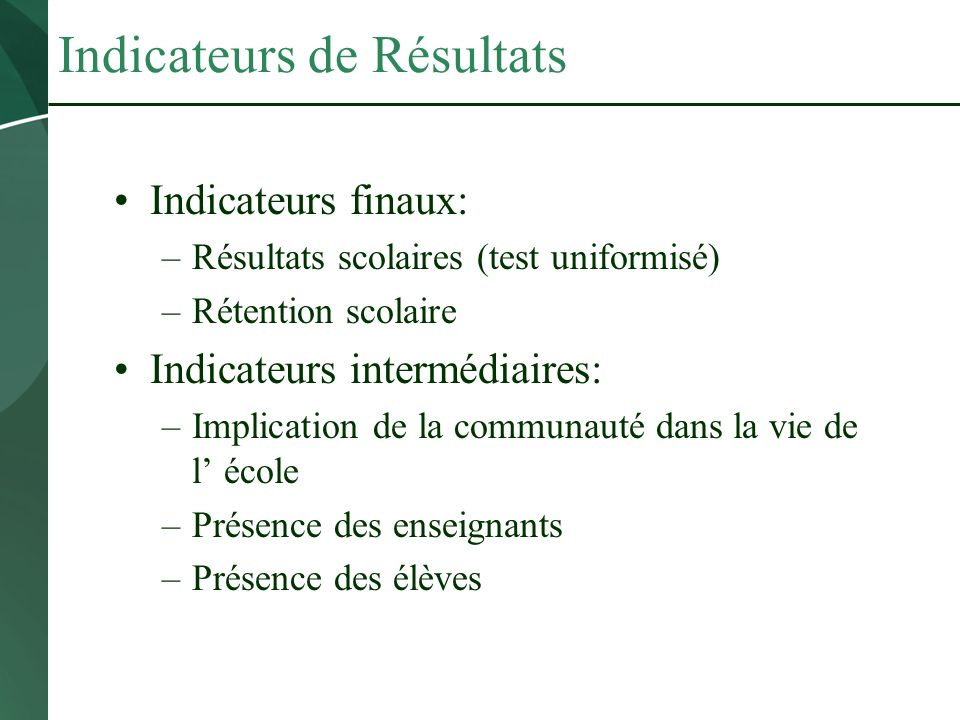 Indicateurs de Résultats