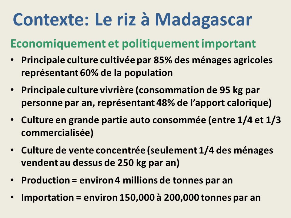 Contexte: Le riz à Madagascar