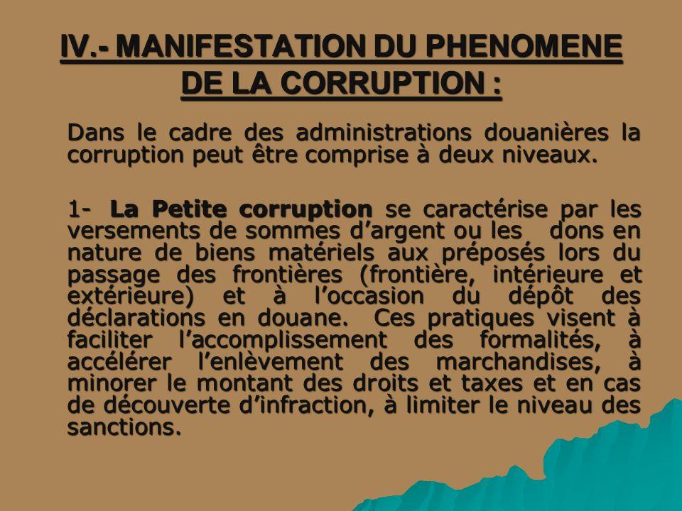 IV.- MANIFESTATION DU PHENOMENE DE LA CORRUPTION :
