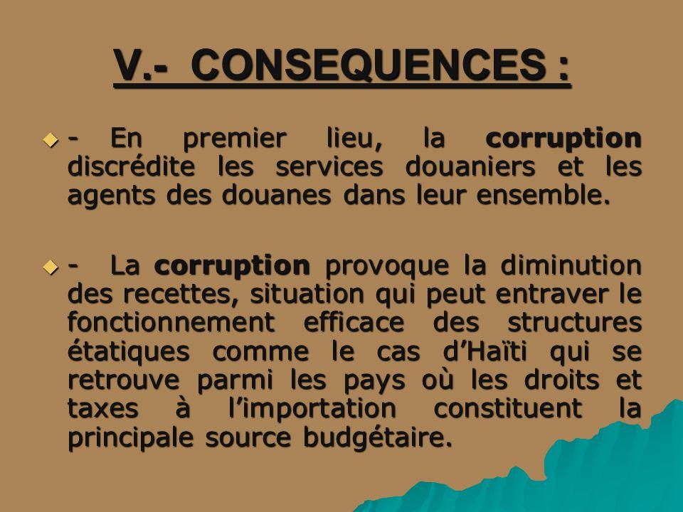 V.- CONSEQUENCES : - En premier lieu, la corruption discrédite les services douaniers et les agents des douanes dans leur ensemble.