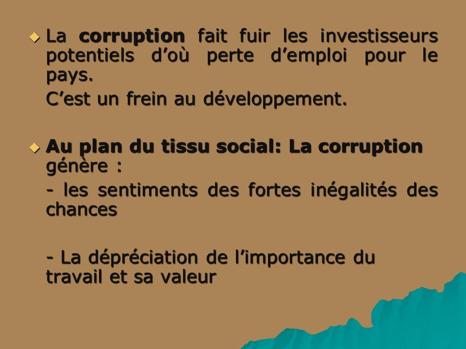 La corruption fait fuir les investisseurs potentiels d'où perte d'emploi pour le pays.