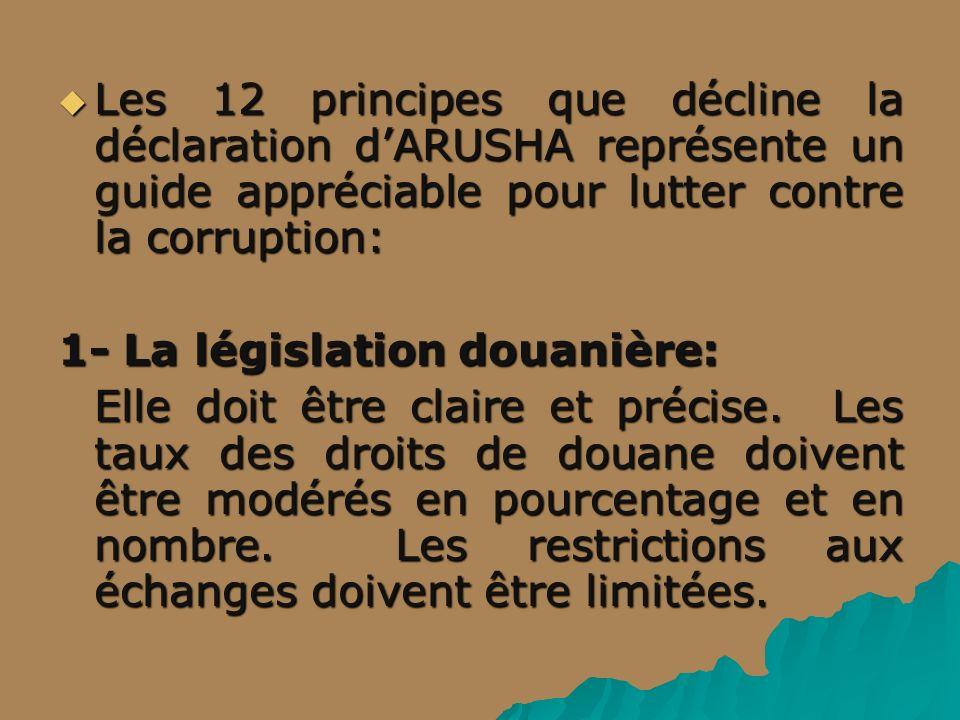 Les 12 principes que décline la déclaration d'ARUSHA représente un guide appréciable pour lutter contre la corruption: